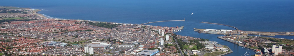 Aerial view of Sunderland coastline with housing and light industry. (C) Shutterstock.com